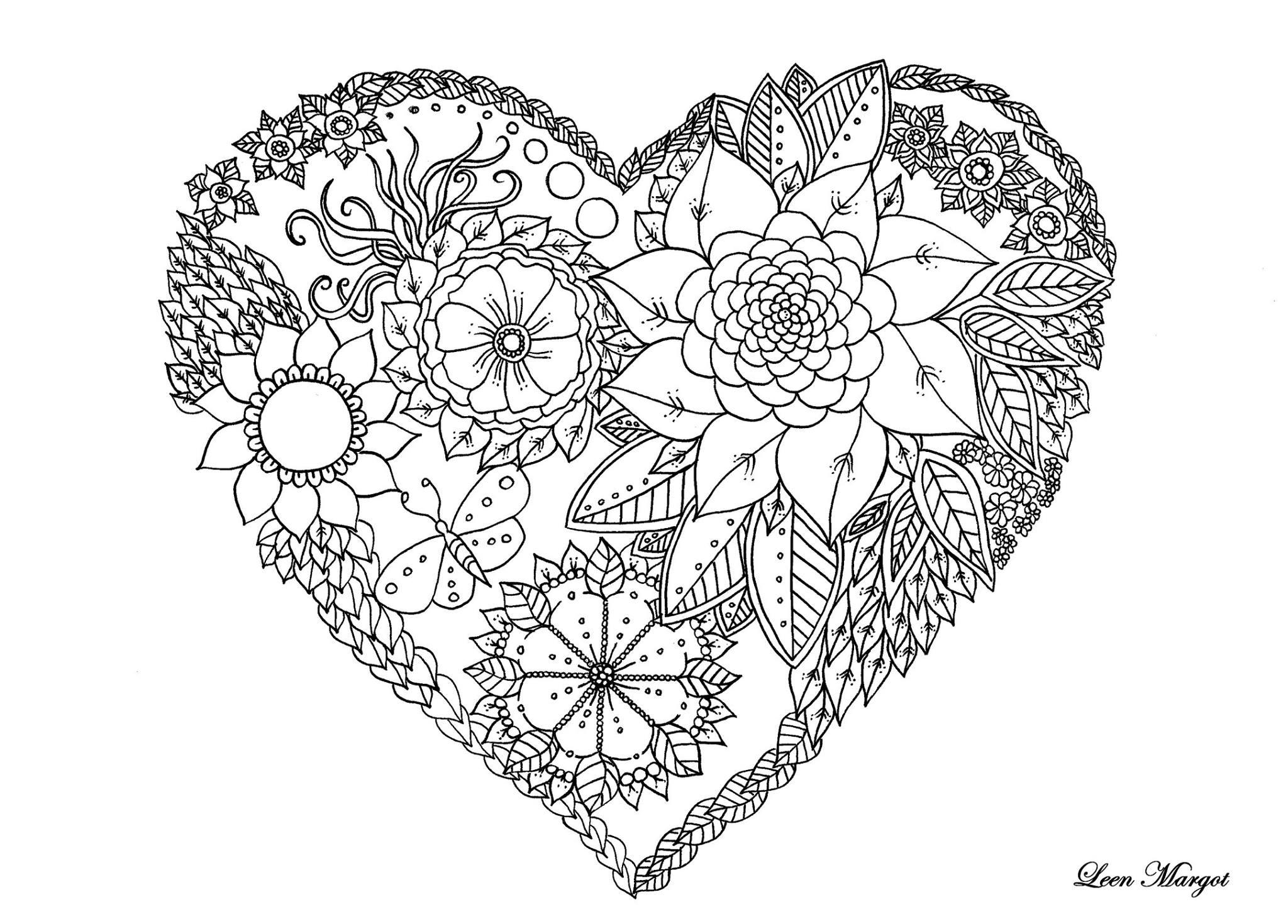 Coloriage de coeur saint valentin par leen margot - Coeur coloriage ...