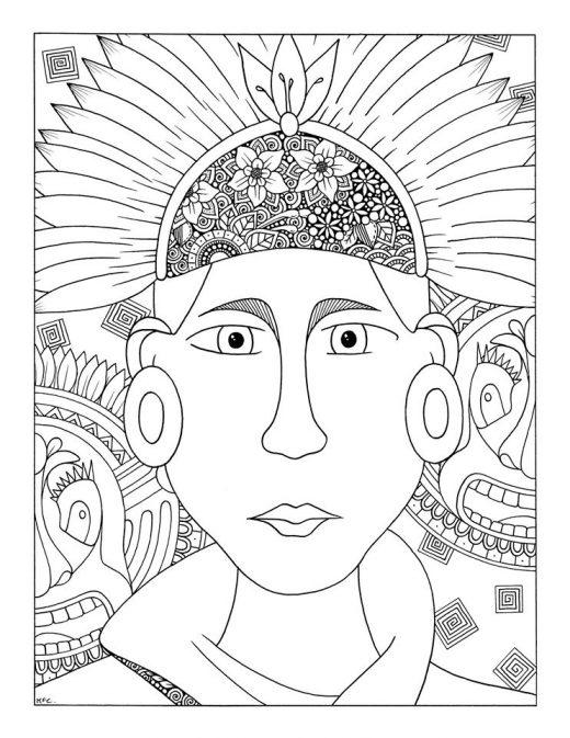 Maud Feral à imprimer visage maya gratuit