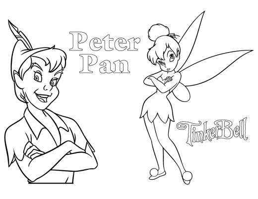 Coloriage Peter pan et fée Clochette