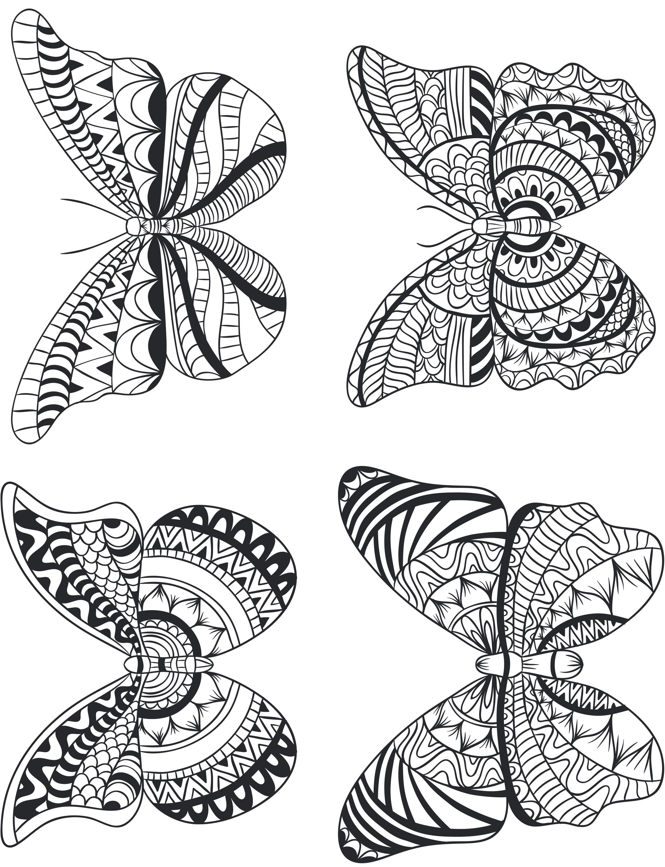 Quatre papillon géométrie pour adulte à imprimer - Artherapie.ca