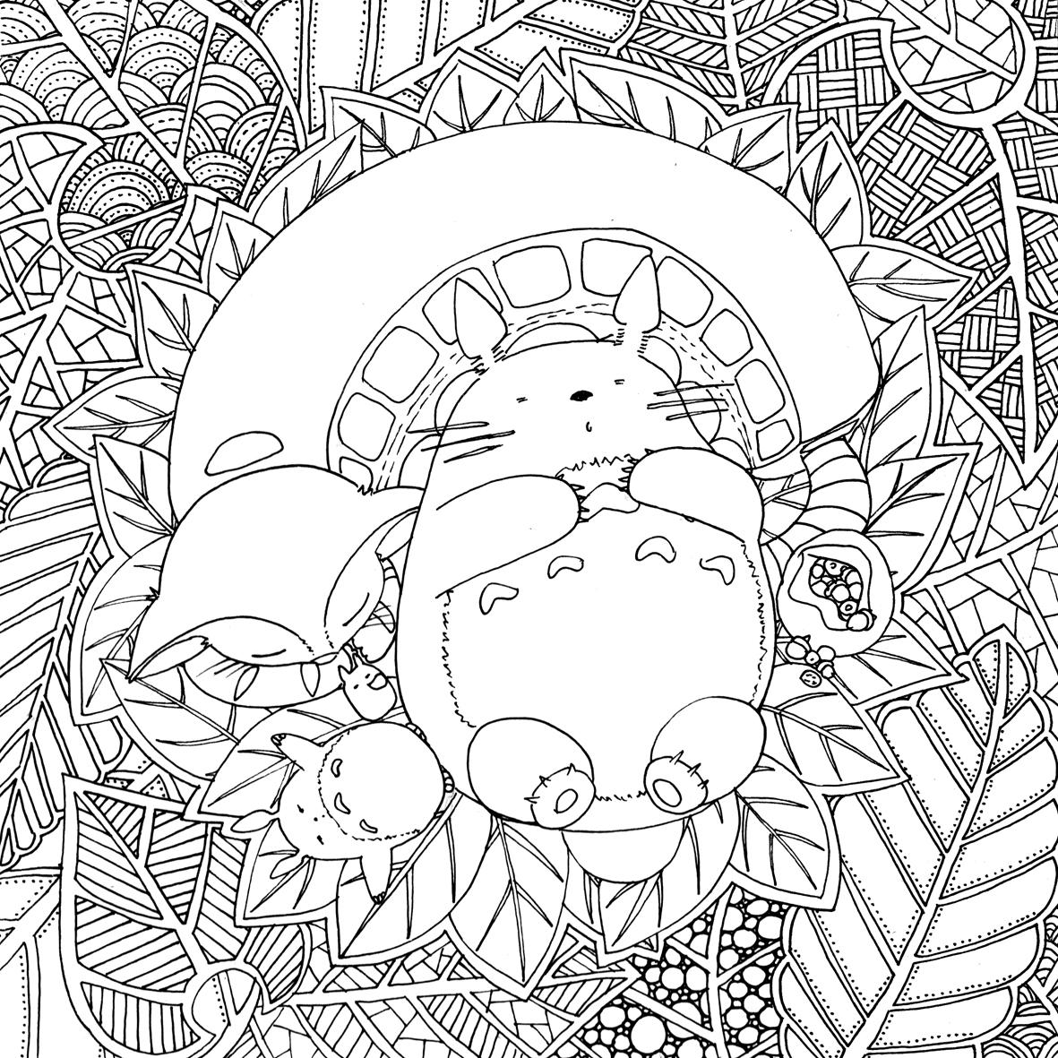Coloriage Inspiration Totoro De Ghibli Par Chocobo Artherapieca