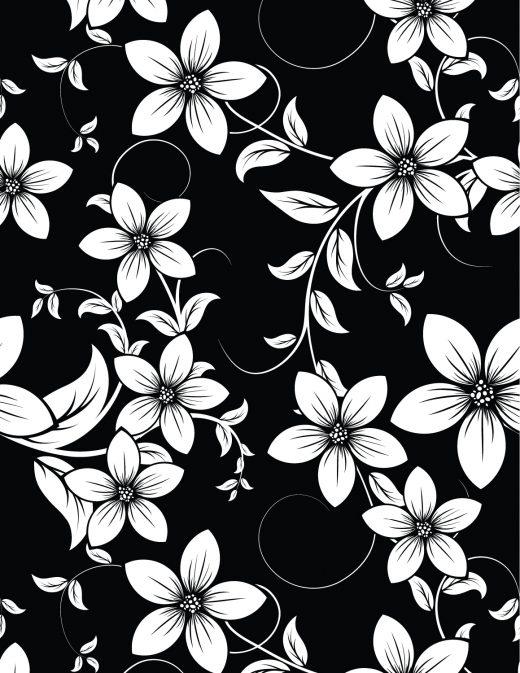 Dessin fleurs fond noir à imprimer