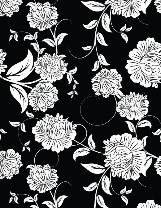 Fleurs fond noir à imprimer et colorier gratuit