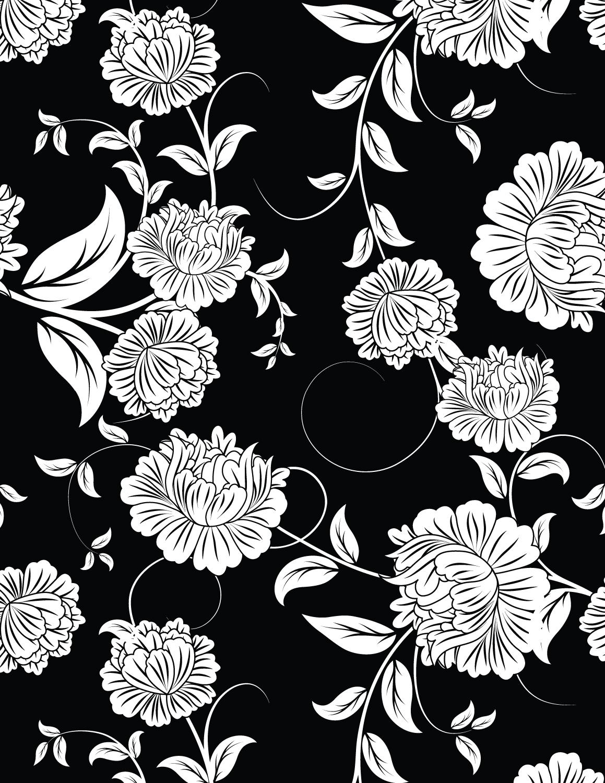 Fleurs fond noir imprimer et colorier gratuit - Dessin fond noir ...
