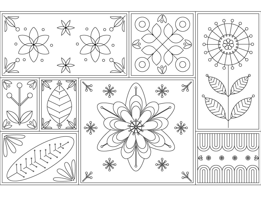 tapisserie de cadre fleurs coloriage pour adulte. Black Bedroom Furniture Sets. Home Design Ideas