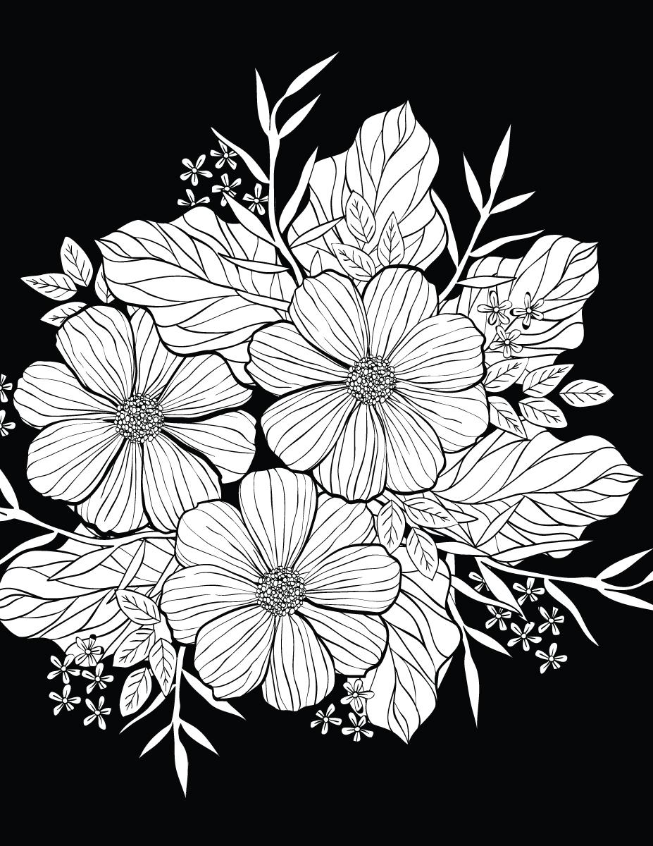 Petites Fleurs Avec Background Noir 224 Colorier Artherapie Ca