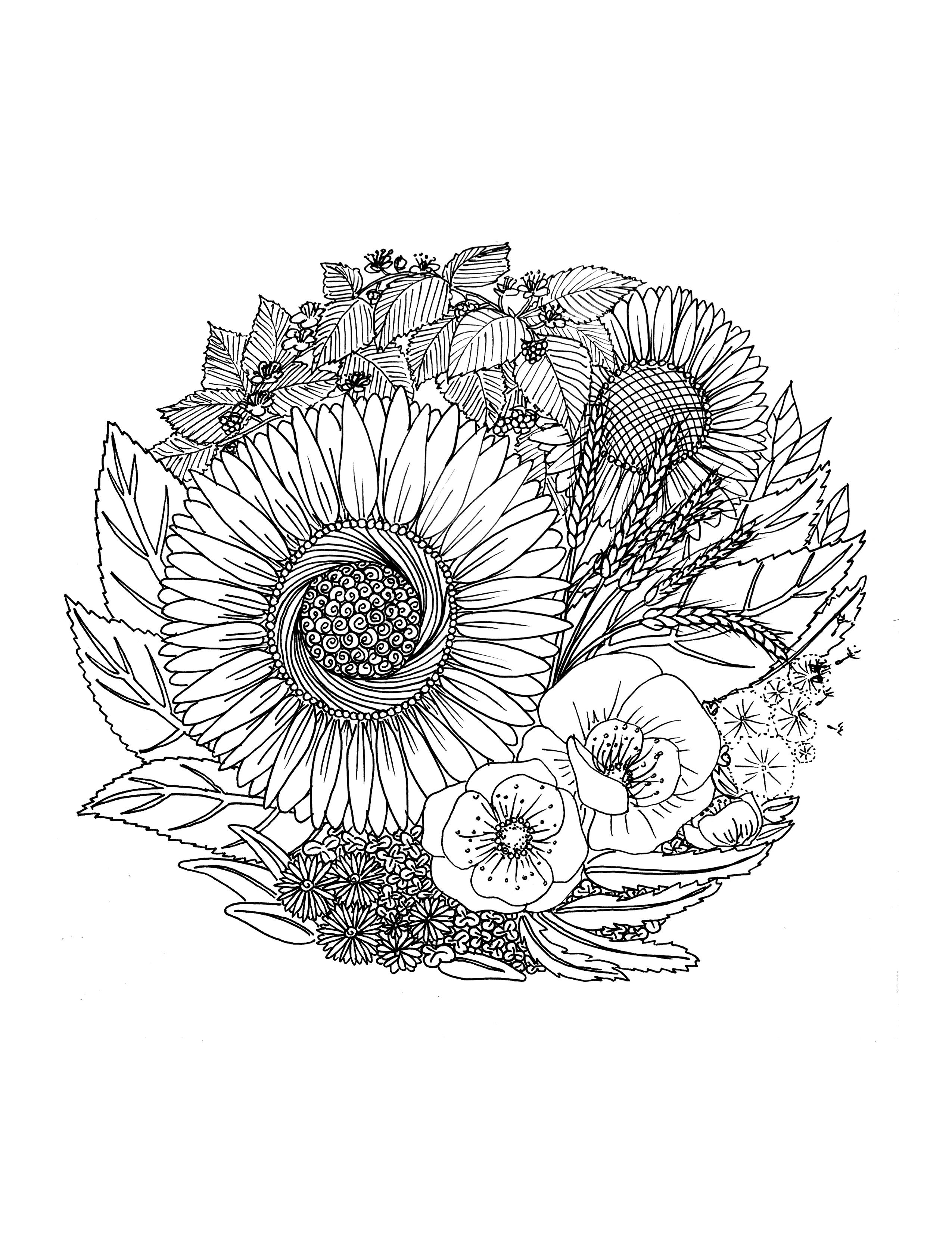 Coloriage gratuit  imprimer fleurs par Chocobo