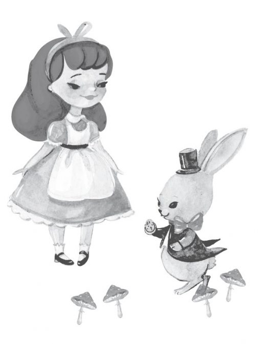 Page de coloriage grayscale Alice in wonderland