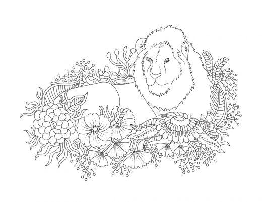 Coloriage de félin à imprimer lion dans fleurs