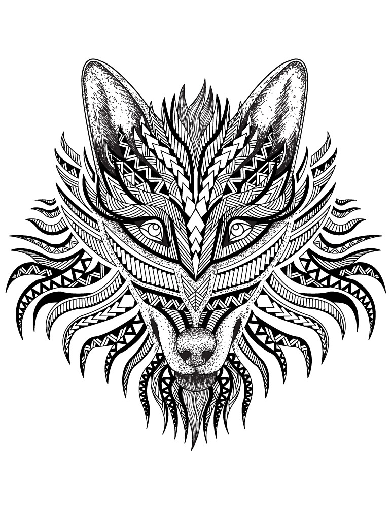 Loup animal totem am rindien colorier - Animal a colorier ...