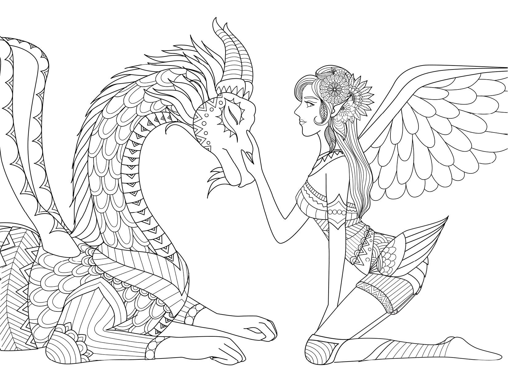 Coloriage De Fantaisie Pour Adulte Fée Et Dragon Artherapieca