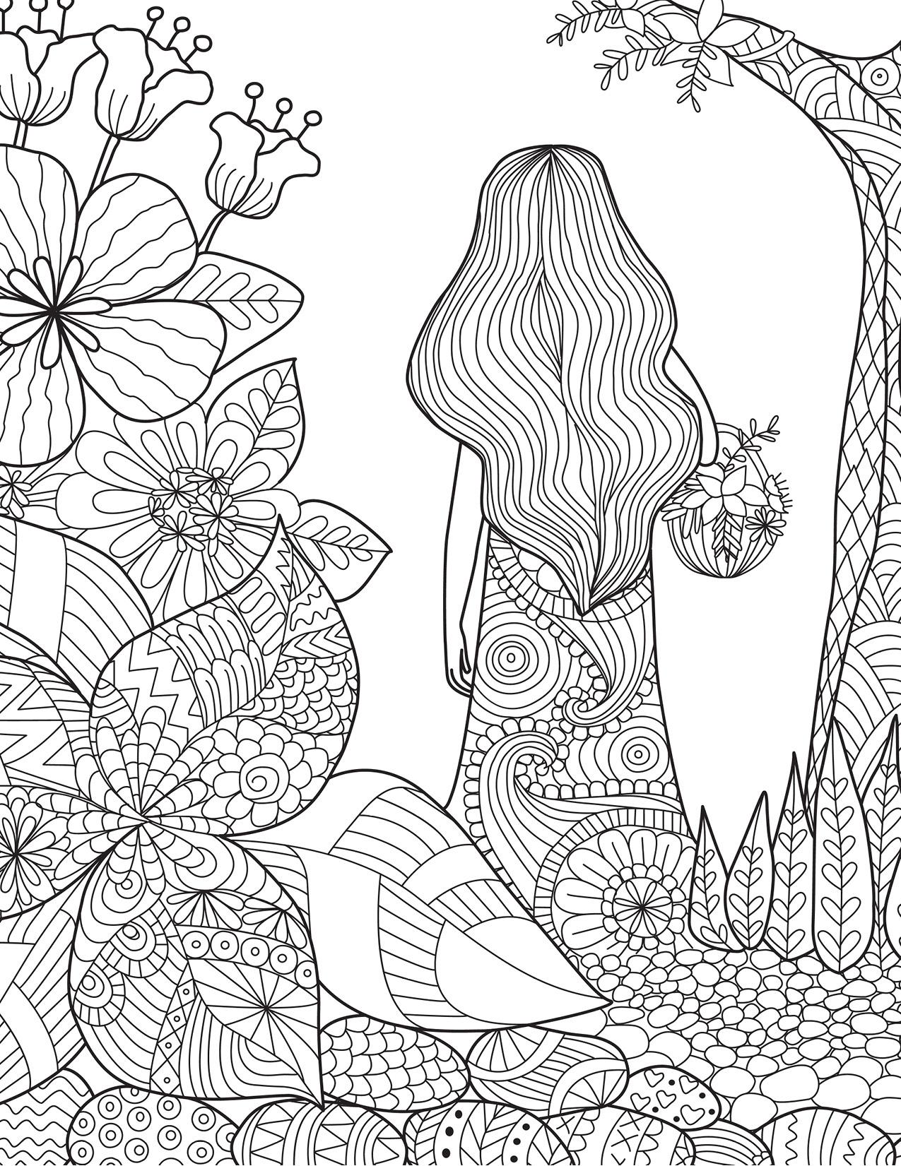 Coloriage de la nature femme dans la foret - Dessin de nature ...