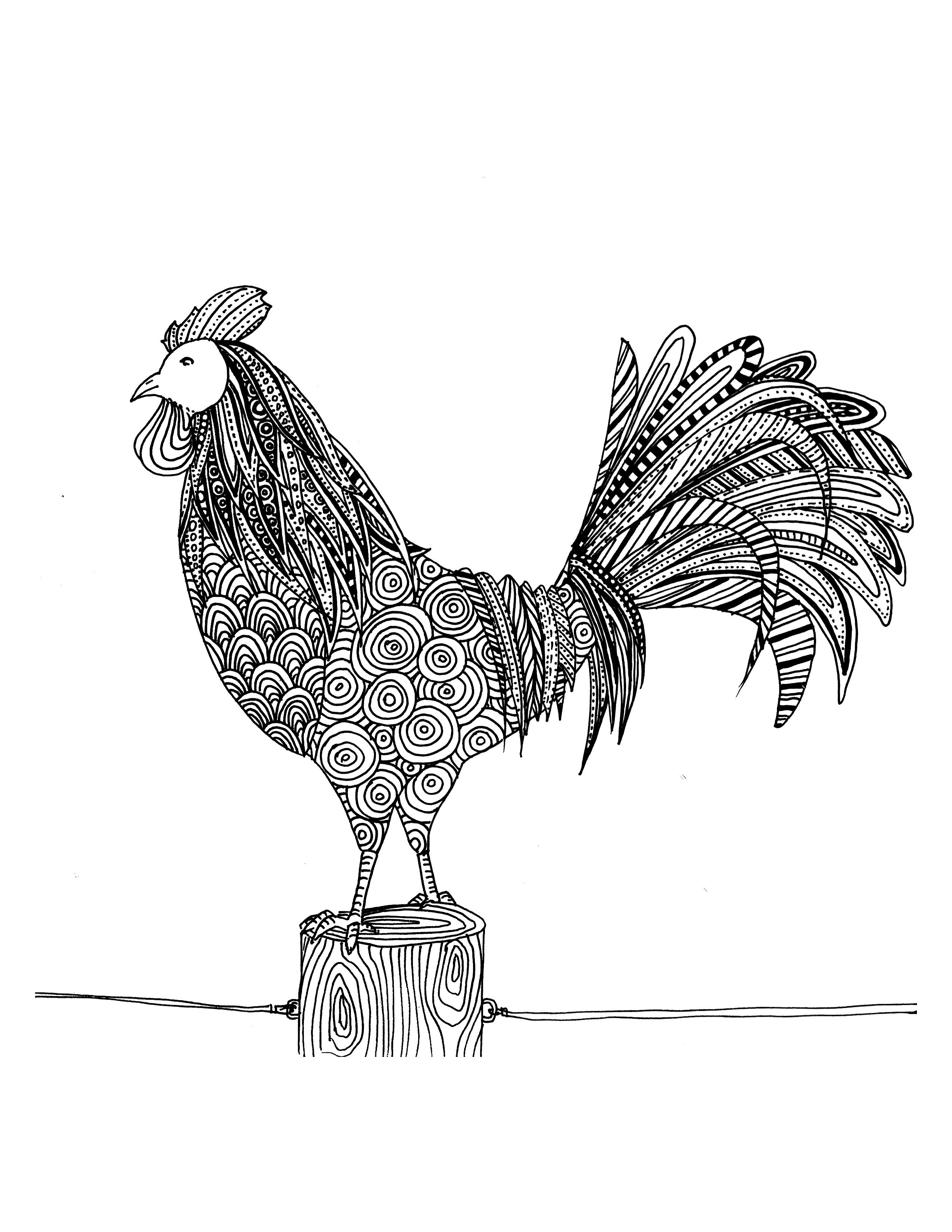 Coloriage de coq  dessiner par Chocobo