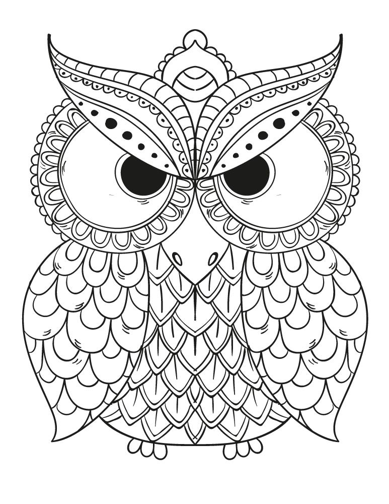 Dessin hibou a imprimer et colorier pour adulte - Artherapie.ca