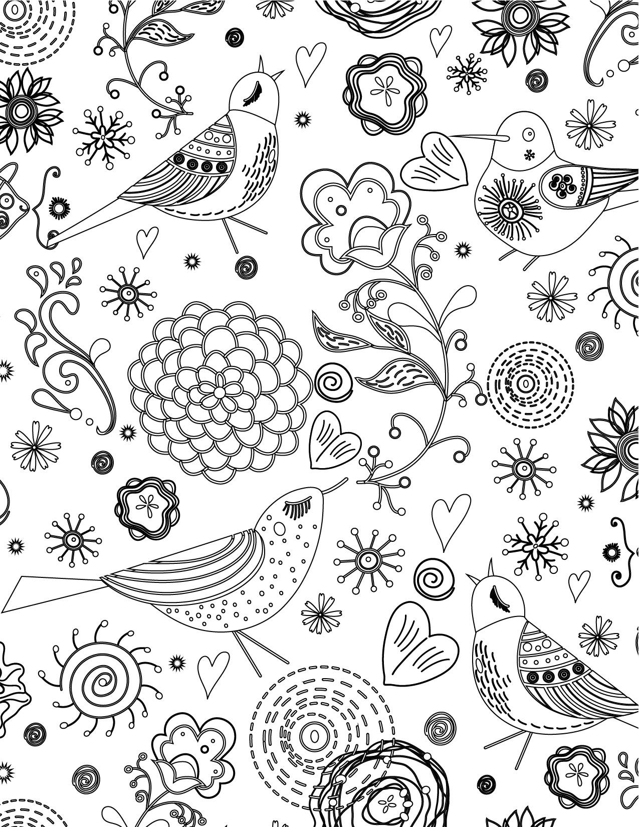 Doodle artherapie oiseaux à imprimer pour adulte gratuit