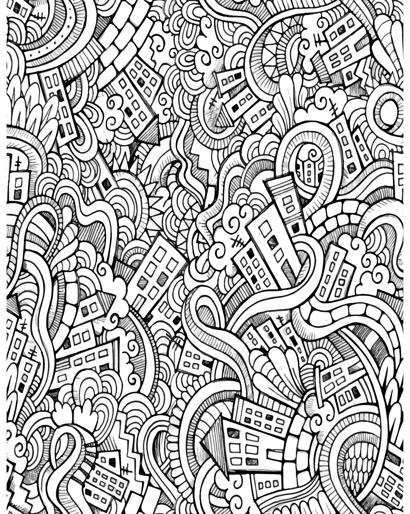 D fis coloriage pour adulte doodle ville imprimer - Coloriage art ...
