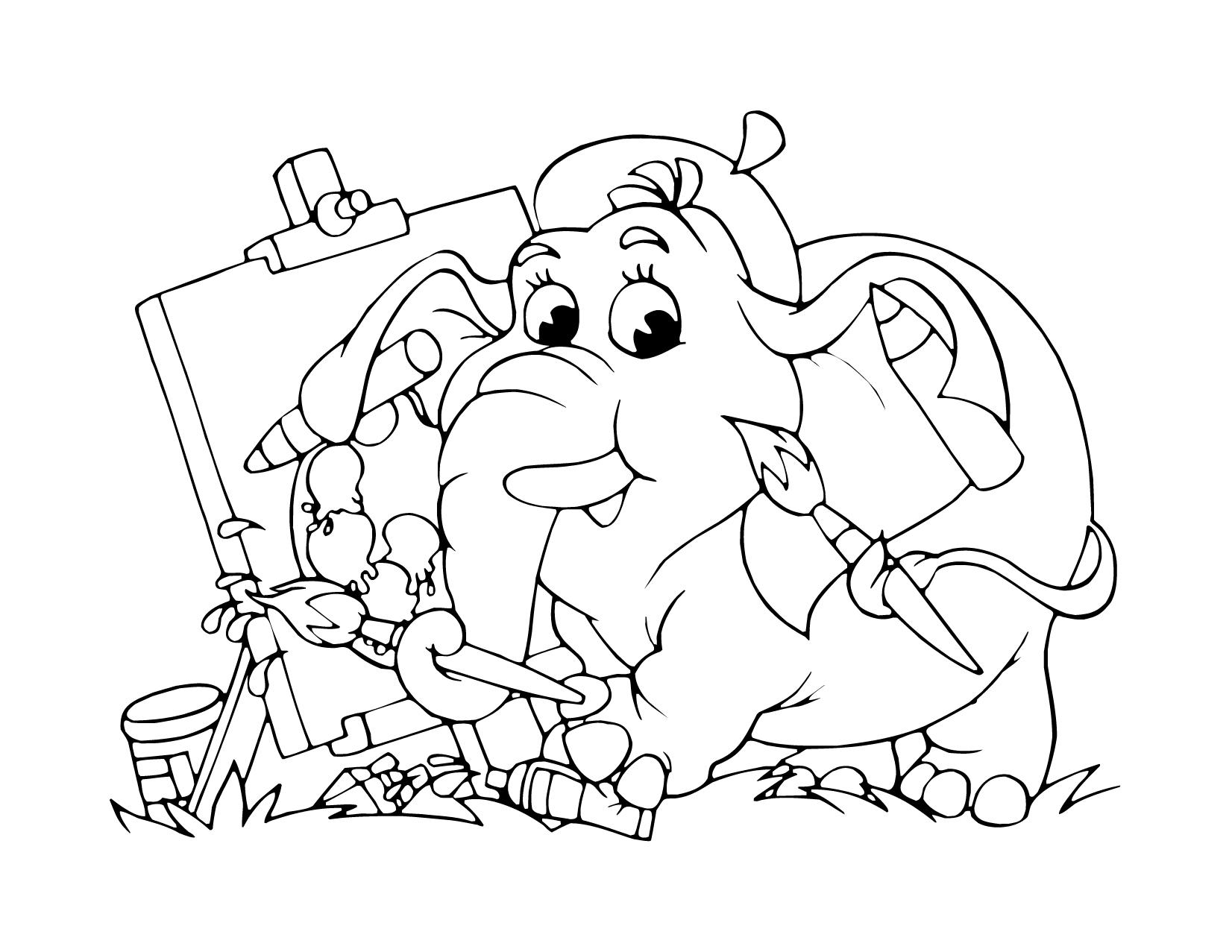 Dessin éléphant artiste pour enfant à imprimer gratuit - Artherapie.ca
