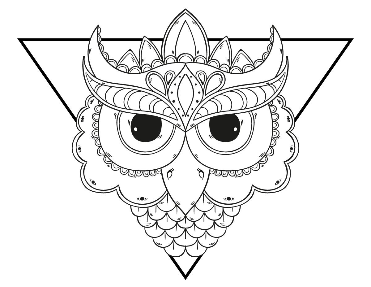 Coloriage mandala chouette grands yeux imprimer - Coloriage pour les grands ...