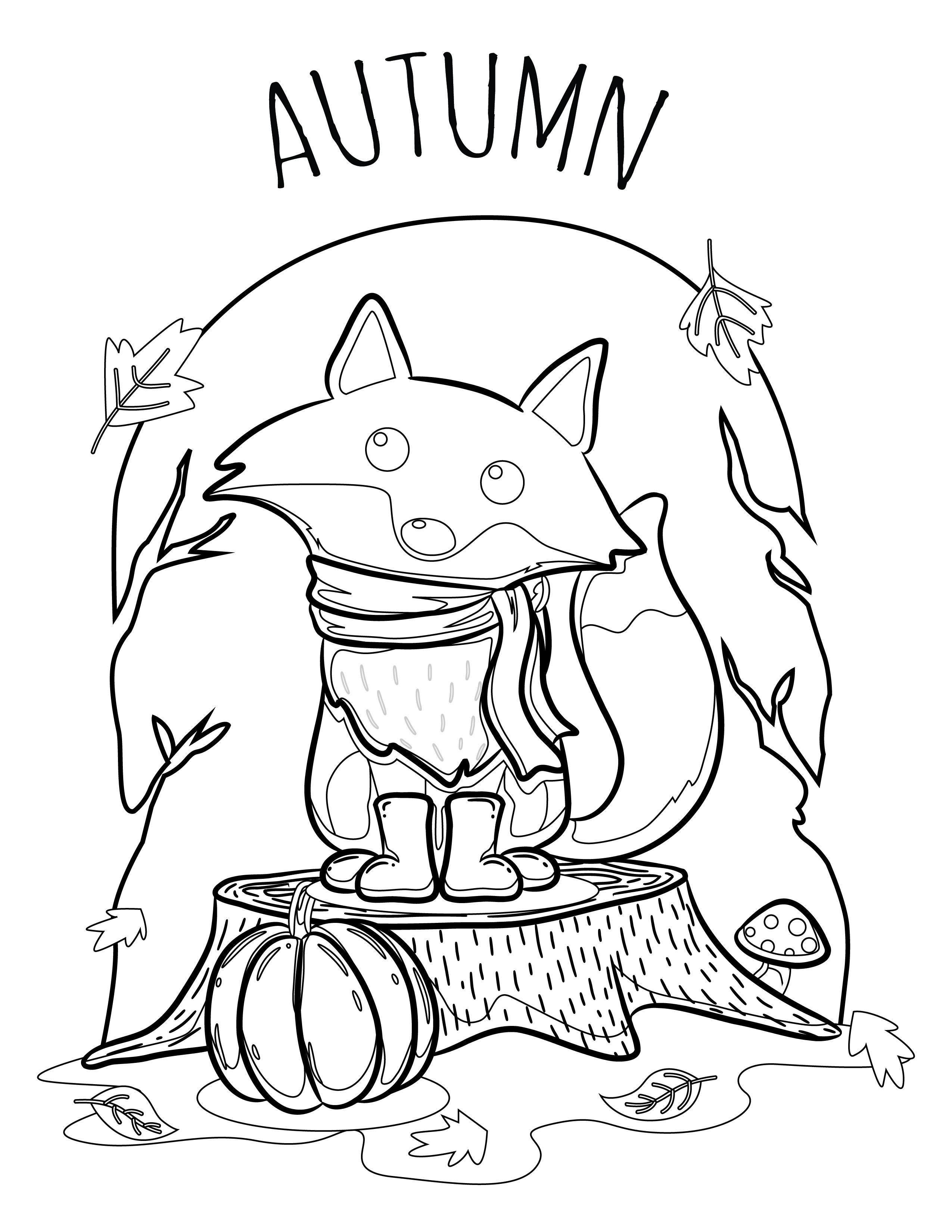 Bienvenue automne coloriage renard pour adulte - Renard en dessin ...