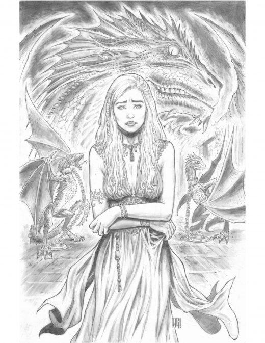 La princesse des dragons impression dessin par Walter Geovani