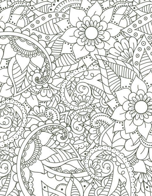 Coloriage mandala à imprimer motif fleurs pour adulte