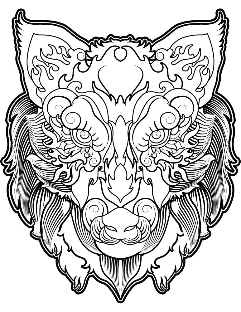 T te de loup coloriage magnifique image imprimer gratuit - Tete de loup dessin ...