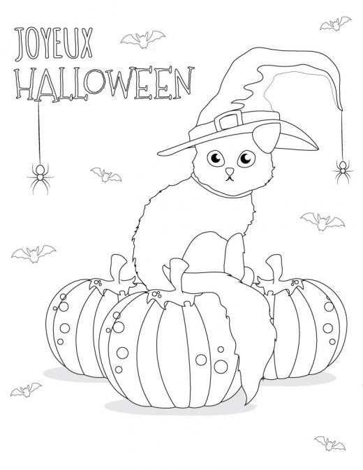 Coloriage chat dessins halloween imprimer gratuit