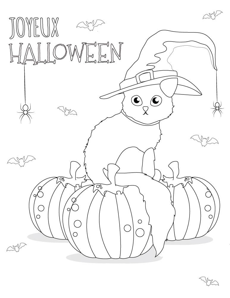 Coloriage chat dessins halloween imprimer gratuit - Dessin chat halloween ...