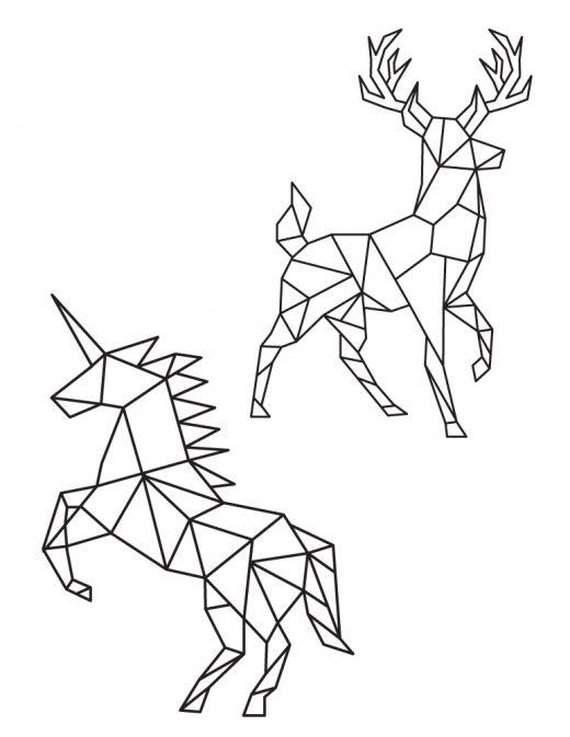 Cerf et licorne à colorier image polygonale pour imprimer