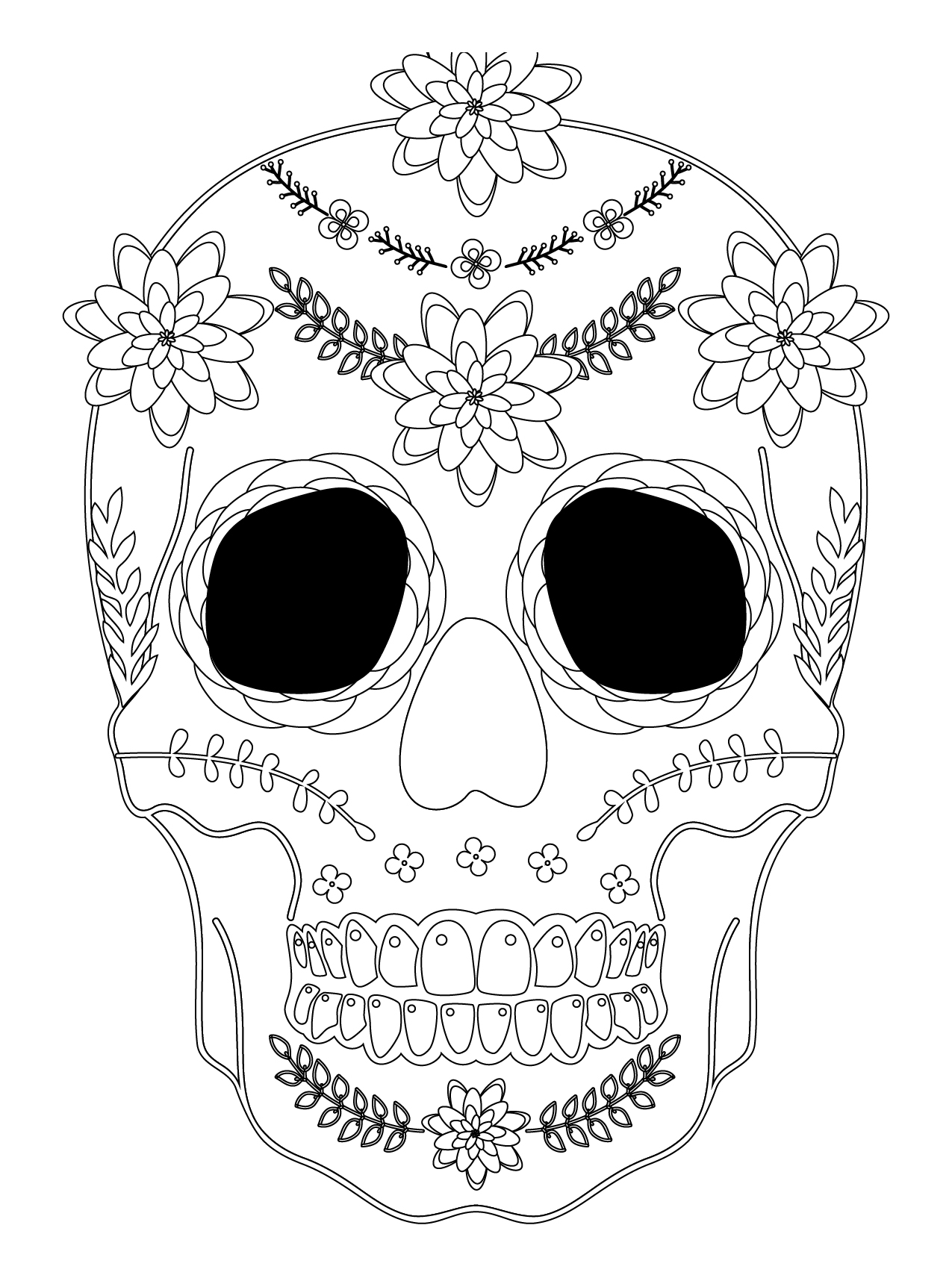 sugar skull coloriage halloween a imprimer qui fait peur. Black Bedroom Furniture Sets. Home Design Ideas