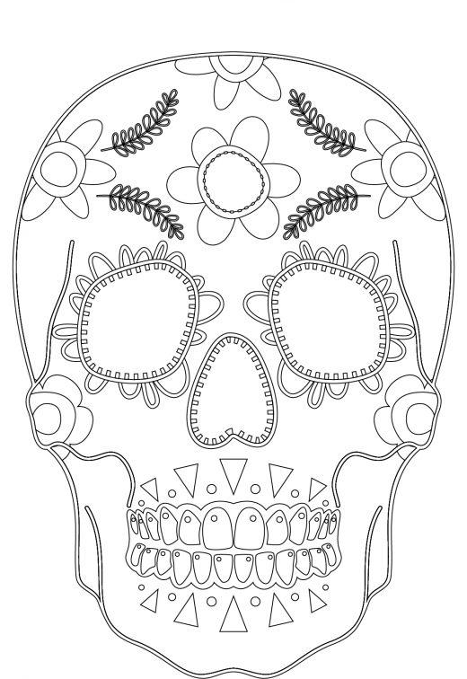 Imprimer des coloriages makeup skull face artherapie
