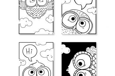 Cartes signet hibou et chouette art thérapie animaux