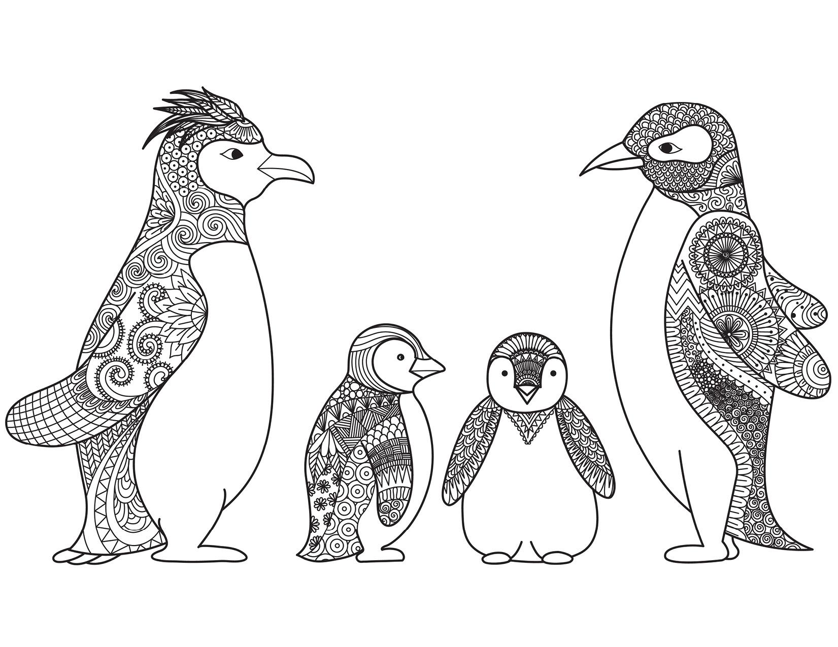 Adorable pingouins de no l coloriage difficile par bimbimkha - Coloriage pinguoin ...