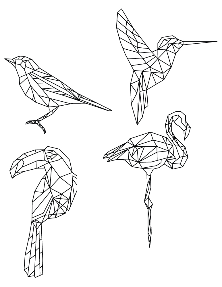 Dessin de coloriage polygonal divers oiseaux artherapie - Coloriage geometrique ...