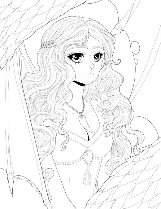 Coloriage princesse dragon art-therapie à imprimer par Dar-Chan