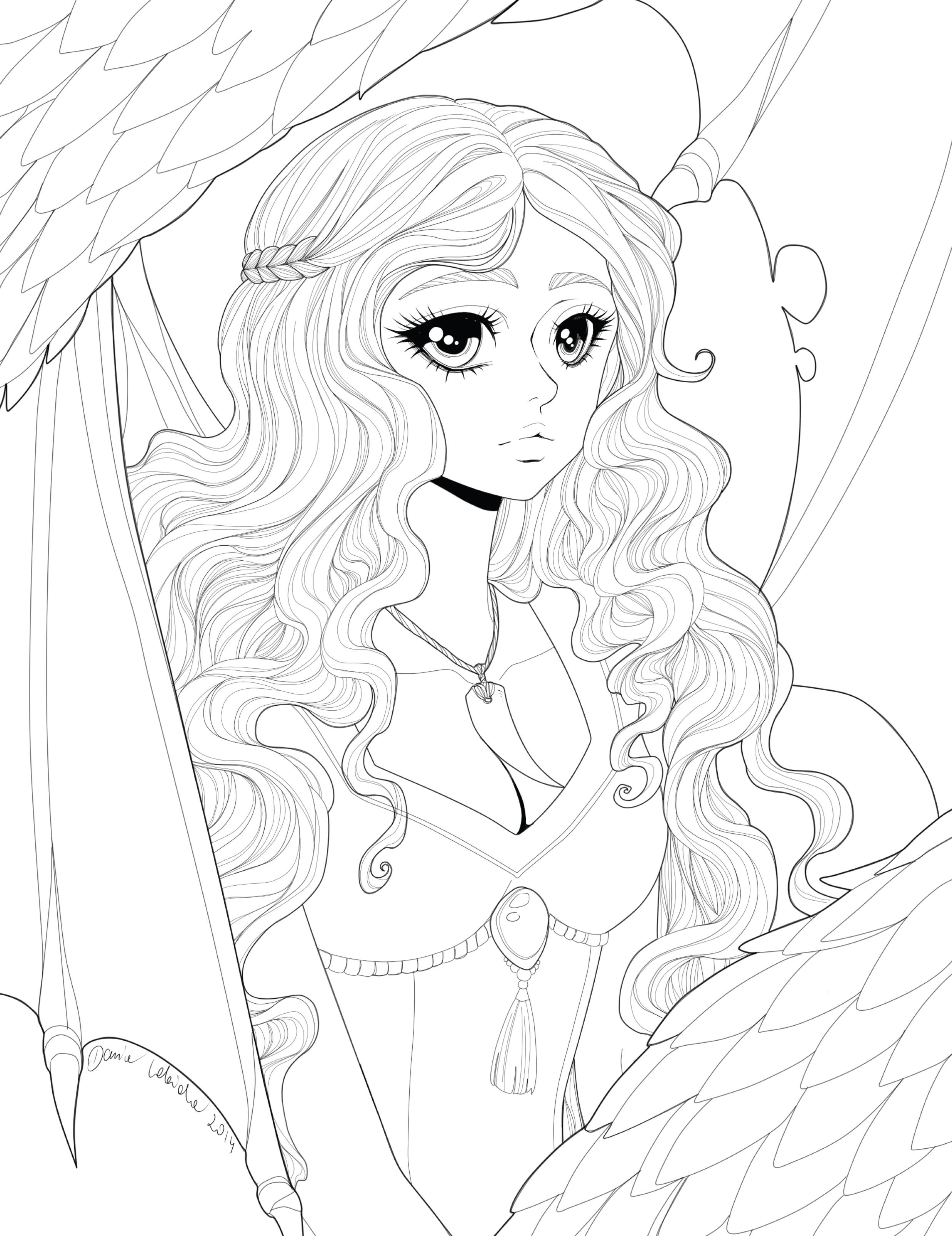 Coloriage princesse dragon art-therapie à imprimer par Dar-Chan