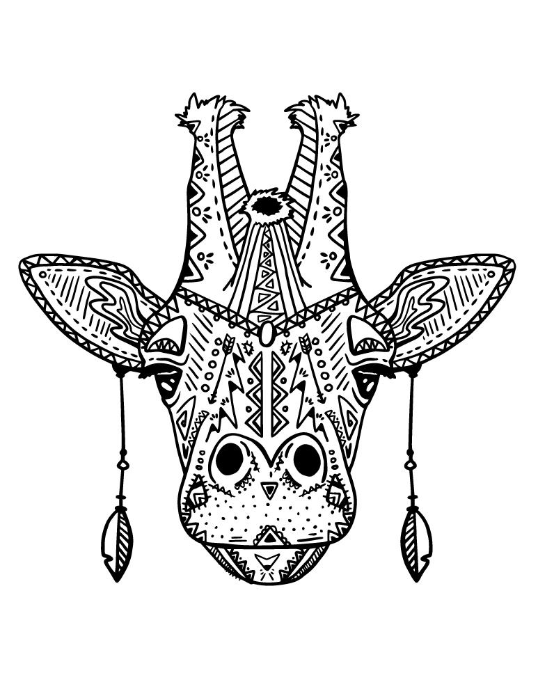 coloriage magnifique tete girafe mode boho a imprimer