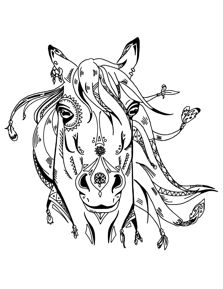 Art th rapie animaux cheval boho coloriage pour adulte - Coloriage therapie ...