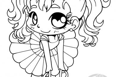 Coloriage pour adulte chibi ballerine par YamPuff gratuit à dessiner