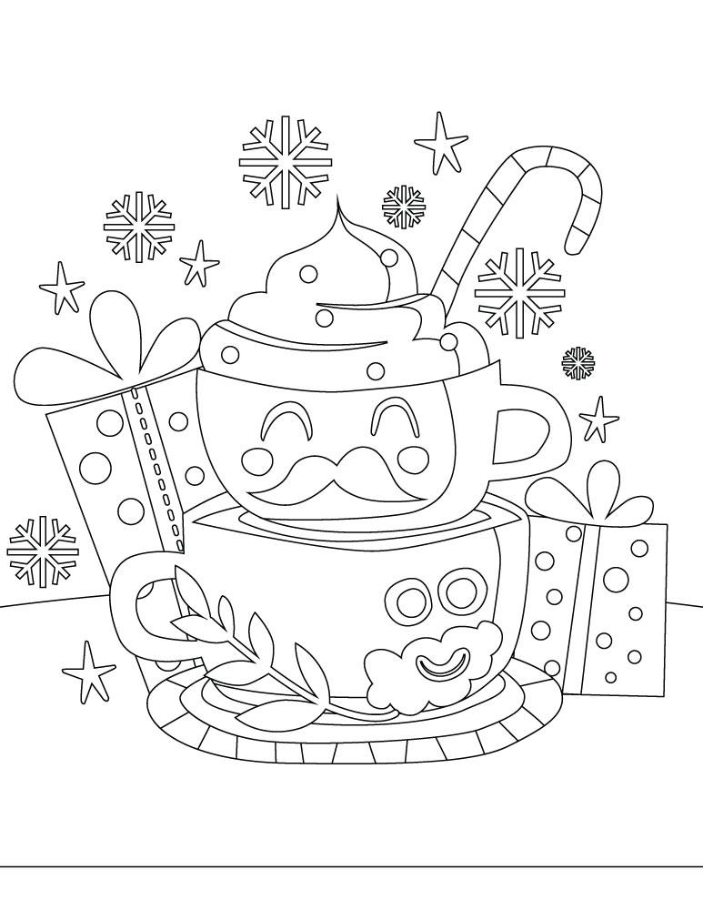 Café gratuit idee de dessin de noel à imprimer et colorier - Artherapie.ca