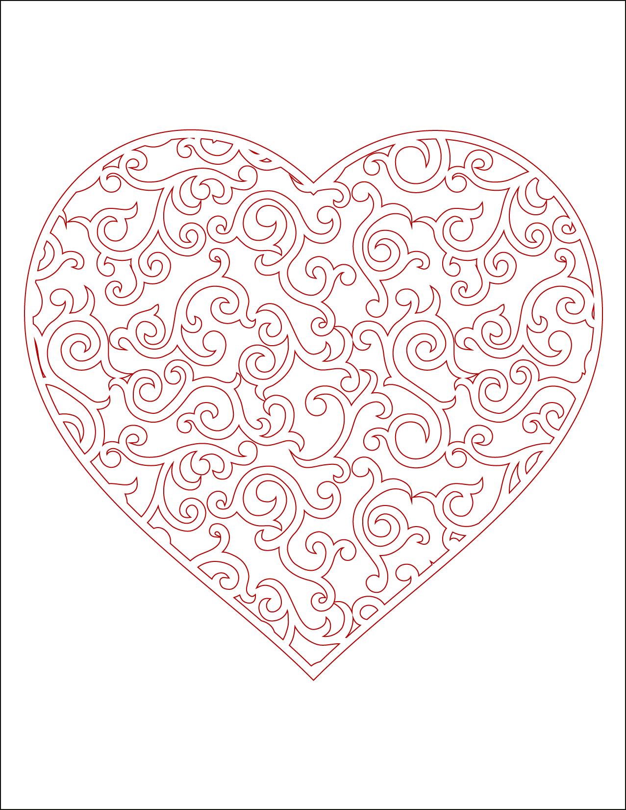 Coeur imprimer en couleur carte st valentin - Image de coeur a imprimer ...