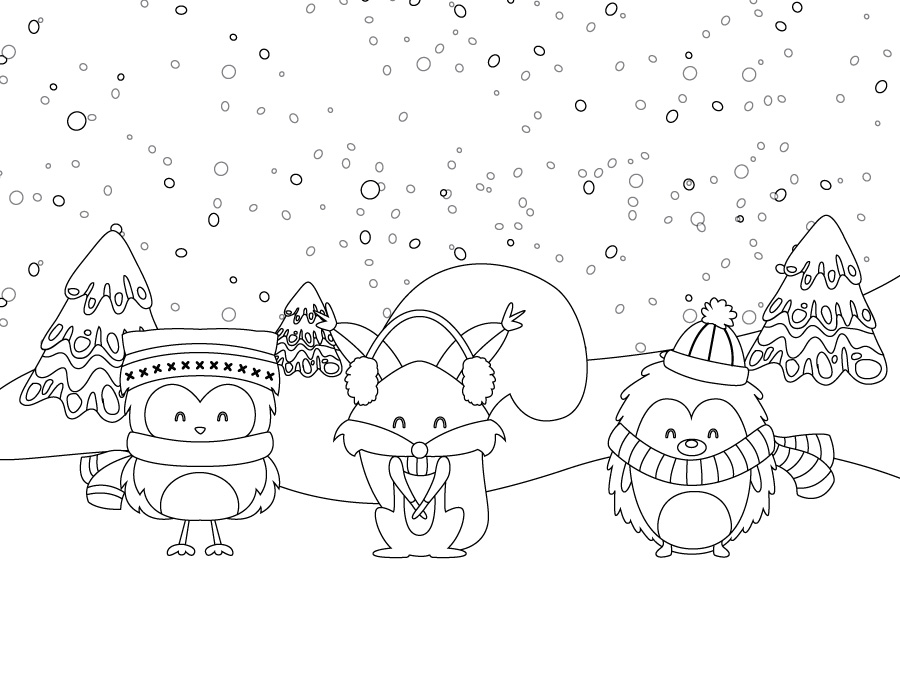 Coloriage de animaux hiver page dessin imprimer gratuite - Coloriage hivers ...