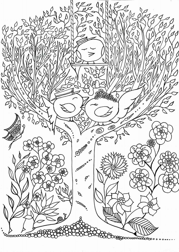 Coloriage zen adulte les zoziaux de Leen Margot à imprimer ...